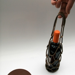 Ursulla - a carry  wine bottle made of  leather