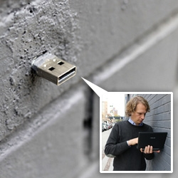 Dead Drops ~ usb keys cemented into walls and buildings as digital drop spots...