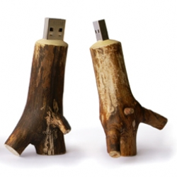 Wooden USB memory sticks.