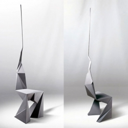 Designed for the exhibition 'Please Do Not Sit', Useless Tool by African designer Kossi Aguessy is built like a skyscraper,with the same materials used to make stealth aircraft.