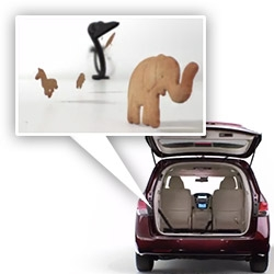 Honda's minivan has a built in VACUUM! Fun ads showing off the new feature... animal cracker stampede, candy, broken crayons, etc don't stand a chance.