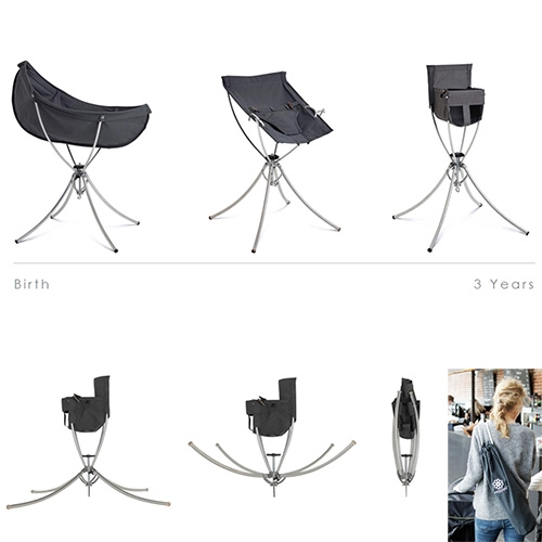 Vaggaro One - modular foldable baby furniture system that evolves from a Cradle to a Bouncer to a High chair. Like the baby/toddler version of those lightweight camp chairs. The frame is made of aircraft grade aluminum and weighs in at 1.6kg.