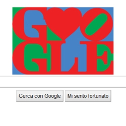 "Happy Valentine's day by Google and Robert Indiana (with the today logo inspired to ""LOVE"")"