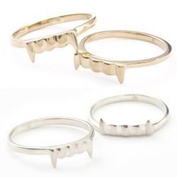 A long time NOTCOT/NotCouture fave ~ the Bittersweets NY vamp rings are on sale!!! In gold and silver, we've been loving these for years!