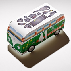Designer Ben Whitesell created a poster that turns into a van for the Dave Matthews Band.
