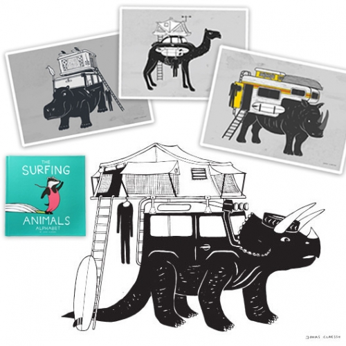 The Vanimals of Jonas Claesson! Amazing mashups of illustrated creature/adventure mobiles complete with so many roof top tent variations. Also the cutest kids book, The Surfing Animals Alphabet. Love the Trifendertops!