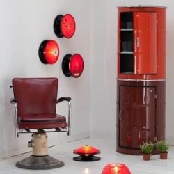 A cool example of recycled art: Metal oil barrels transformed into beautiful 'Schraenk' cupboards.