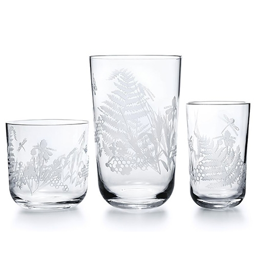 Tiffany & Co has a beautiful Flora & Fauna collection of vases, bowls, and glassware.