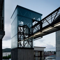An outdoor elevator by Spanish architects Vaumm in Errenteria, northern Spain.