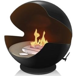 For some reason, the Vauni globe ethanol fireplace reminds me of Pac-Man.