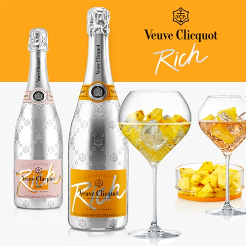 Veuve Cliquot joins the 'champagne on ice' trend (they are blended to be extra sweet and perfect when iced) with Veuve Cliquot RICH and RICH Rosé.
