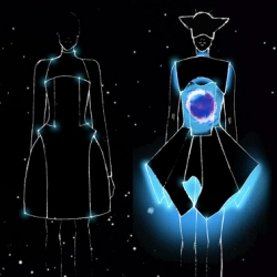 Designer Vega Wang's Alpha Lyrae collection explores electroluminescent frontiers in fashion