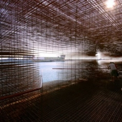 The Croatian Pavilion at the Venice Biennale is constructed on an existing barge and will be towed by tugboat from its shipyard in Karljevica to the port of Rijeka and will be moored at the main pier in Venice for the opening of Biennale.