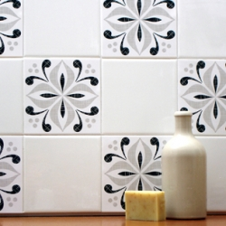 Tile Tattoos! A nice variation to the wall stickers ~ cute way to spruce up tile bathrooms, kitchens, etc? by mibo