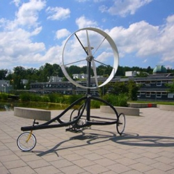 Students at Stuttgart University recently perfected a vehicle propelled by nothing more than three wheels and a 6kw turbine.