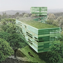 Juan Herreros competition entry for the new complementary buildings for the CEA Cadarche research center in France.