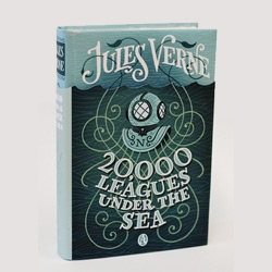 Illustrator Jim Tierney redesigns Jules Verne, complete with hand-lettering for his student thesis project.