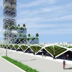 Stackable solar  sky gardens in Mexico City.