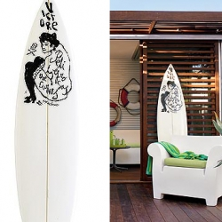 """This 6'2"""" short board surfboard, made exclusively for Design Within Reach, was hand-shaped and glassed by Mike Becker and has a hand-drawn image by NY artist James Victore. $3000.00 USD"""