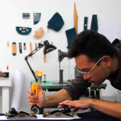 Turnstyle News' video going inside the industrial design studio of John Cho Moore - see how he builds his handmade bamboo and canvas bags.