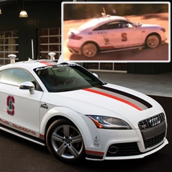 Video of Audi TTS unmanned vehicle. The specially-equipped car drove the entire 12.42 miles and 156 precarious turns of the Pikes Peak International Hill Climb without a driver at the wheel.