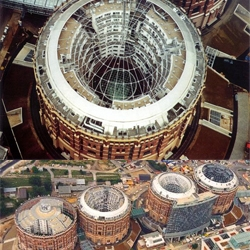Built in 1896, the giant Gasometers of Vienna were decommissioned in the mid-80s. A revitalization project in 1999 has since transformed these tanks into thriving communities