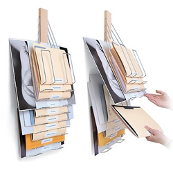 Universal Vertical Filing Rack™ by Westerville Design.  File with Style. This flexible wall mounted filing system holds items in a variety of sizes in 10 hangers, ensuring easy organization and quick retrieval.