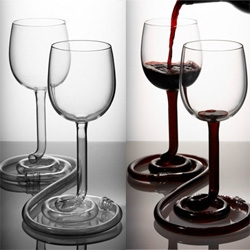 """""""My Other Half""""  Because liquid finds it's own level, it flows down to the lowest glass. Users must learn to cooperate, to drink their wine. by Jim Rokos - great rollover of a couple using it."""
