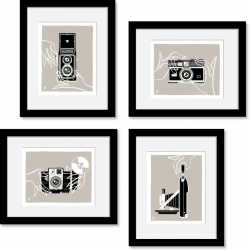 Four 8x10 art prints on one poster by Jeremy Slagle. Based on vintage film cameras collected from garage sales and flea markets.