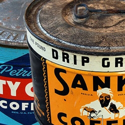 Vintage Coffee Tin Packaging from the 40s and 50s.