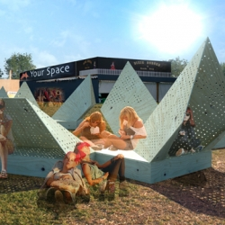 Aarhus School of Architecture undergrads in collaboration with the Roskilde Music Festival. Entitled Vintergatan, the installation is a modular exercise of different sized triangles combined to create varied spaces.