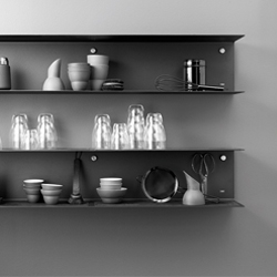 Vipp Shelf is a minimal shelving system designed by Vipp Design Studios. Simple, yet charming, timeless design with a bit of industrial spunk.