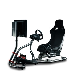 Vision Racer VR3 is an impressive simulator complete with a fiberglass racing seat, stainless steel frame, pedal and gearshift mounts and a LCD and console stand.