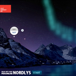 Visit Norway tempts adventurous tourists to Northern Norway, with the magical Northern Lights. The user can draw his own personal aurora, and share it with their friends.