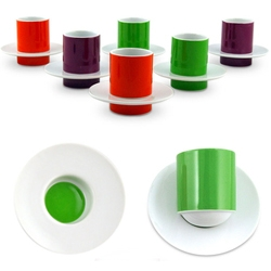 Colorful espresso set with rounded bottoms by Vista Alegre.