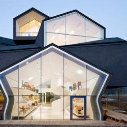 The newly completed Vitrahaus by Herzog & de Meuron on the Vitra Campus in Switzerland.