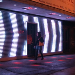 La Vitrine - Montreal : an interactive installation includes tracking devices and low-resolution LED displays.