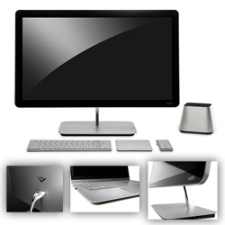 "Vizio gets into the PC world with some super sleek looking desktop and laptop setups ~ very mac inspired meets chrome look...  24"" and 27"" all-in-one PC, 14"" and 15.6"" ultra light, and a more powerful 15.6""."