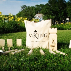 Looking for a new outdoor game for the summer? VKing, based on a centuries old Swedish Viking game, is simple and elegant. Use your Battle Axes to topple all of your opponent's Shields; the first team to conquer the King claims the crown.