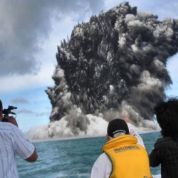 An underwater volcano off the coast of Tonga has erupted, cool video of the ash and smoke.