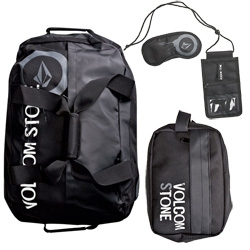 Fun Volcom Travel Collection ~ like that this roller duffle comes with toiletry kit, travel wallet, and sleeping mask - nice all in one gift