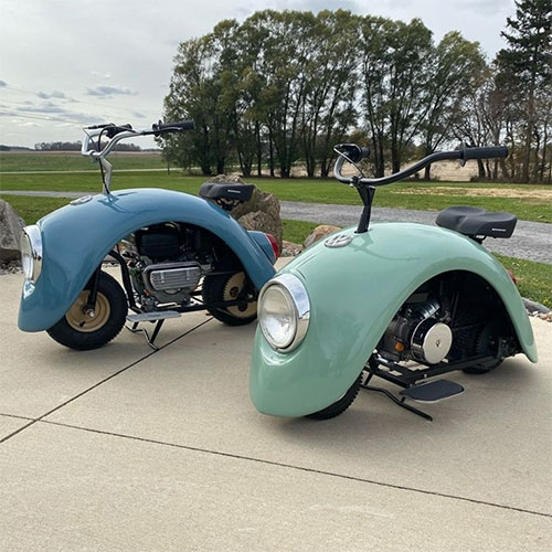 Brent Walter's Volkspods are the cutest little bikes made from Volkswagen Bug parts!