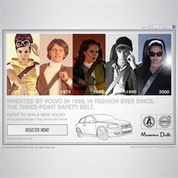 Invented by Volvo in 1959, the three-point safety belt is in fashion ever since. Volvo ties up with Massimo Dutti on a seat belt campaign named 'Safe and Style'