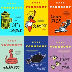 the Kurt Vonnegut backlist gets fresh new cover designs, incorporating an illustration by the author on the front of each book...