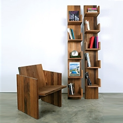 Planar Chair and Leaning Shelves by Deger Cengiz, are made out of reclaimed redwood, salvaged from a dismanteled water tower in New York.
