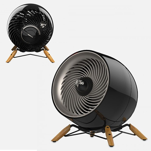 Vornado Glide Heat Whole Room Heater - adorable design with round body and metal & wood wide stance base. Almost looks like it's ready to crawl away.