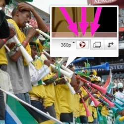 Google, being the jokers that they are, did us all a huge favor and added a Vuvuzela button to the youtube player!