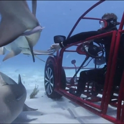 VW teams up with the Discovery Channel to make a custom Beetle shark cage. The car drives on the floor of the ocean via propellers and is an awesome underwater advertisement for VW.