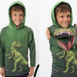 Epic Dinosaur shirt! Great concept with a multitude of potential. Vampire fangs? Rolling Stones lips?