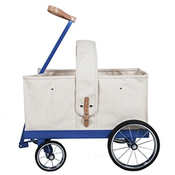 Welcome Companions Wagon No. 2 - 20lb canvas basket, leather handle grip, in a steel wagon bed and axles.